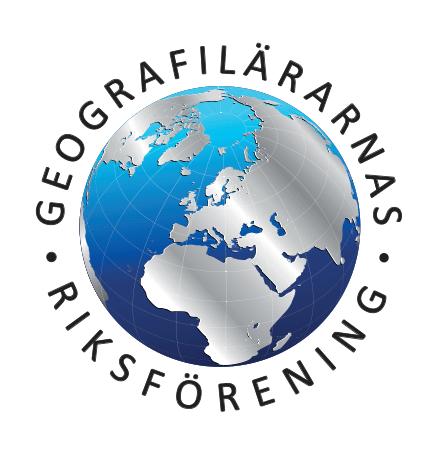 En jordglob som är centrerad mot Europa. Runt globen står texten Gegorafilärarnas riksförening.
